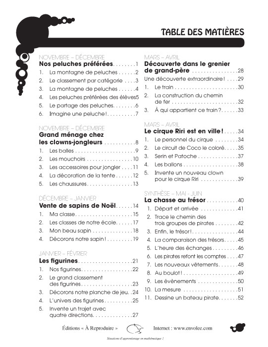 Specimens Situations d'apprentissage en mathématique 1
