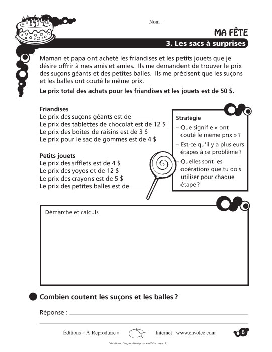 Specimens Situations d'apprentissage en mathématique 3