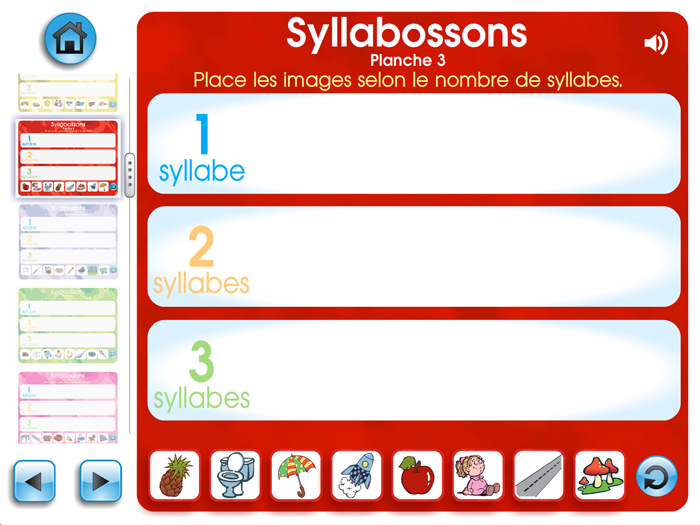 Spécimen de Syllabossons - Application TNI