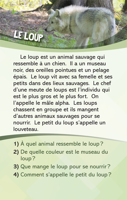 Specimens Lecture à la carte - Animaux 2