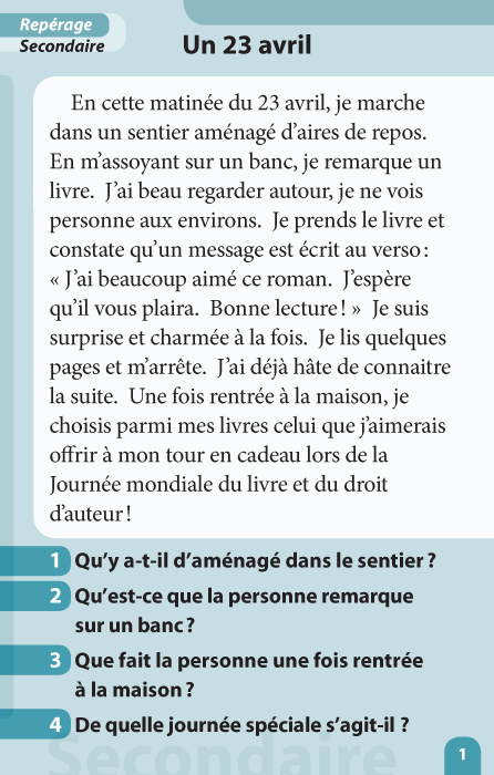 Specimens Lecture à la carte - Repérage 1re et 2e secondaire