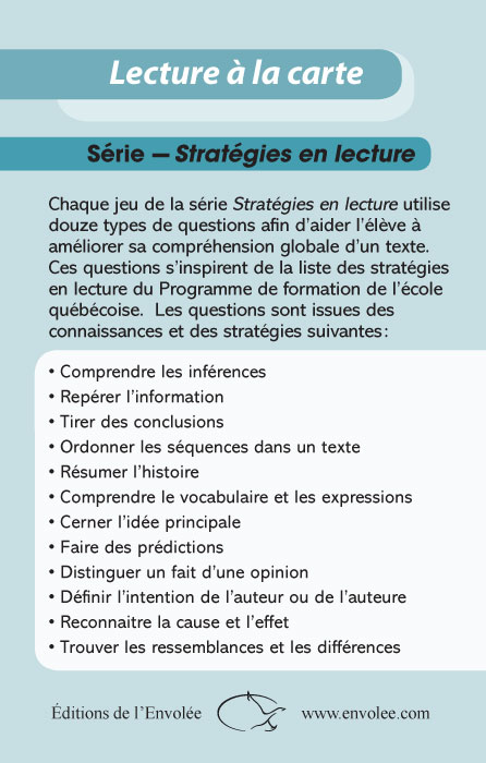 Specimens Lecture à la carte - Stratégies en lecture 1re et 2e secondaire