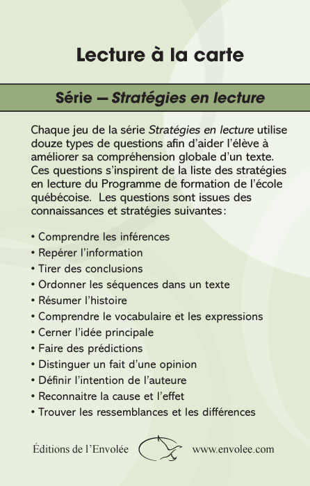 Specimens Lecture à la carte - Stratégies en lecture 1er cycle