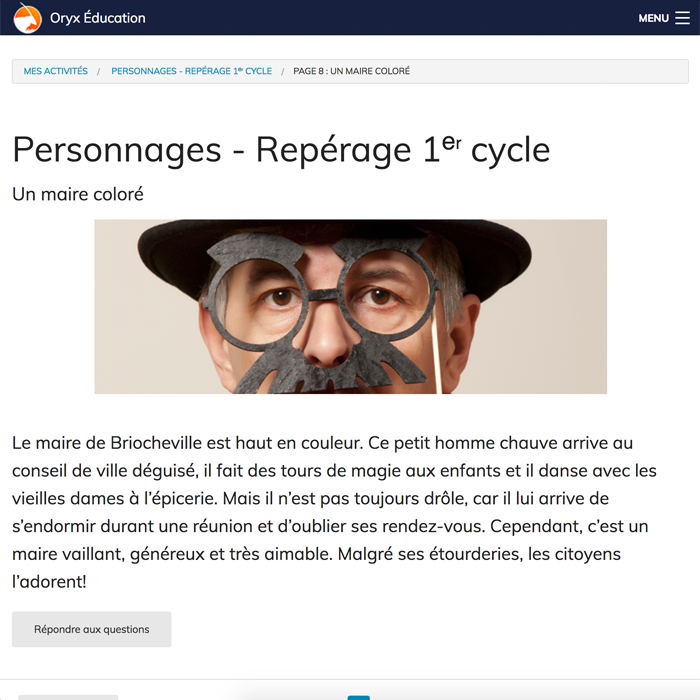 Specimens Personnages : Repérage 1er cycle – App. Web