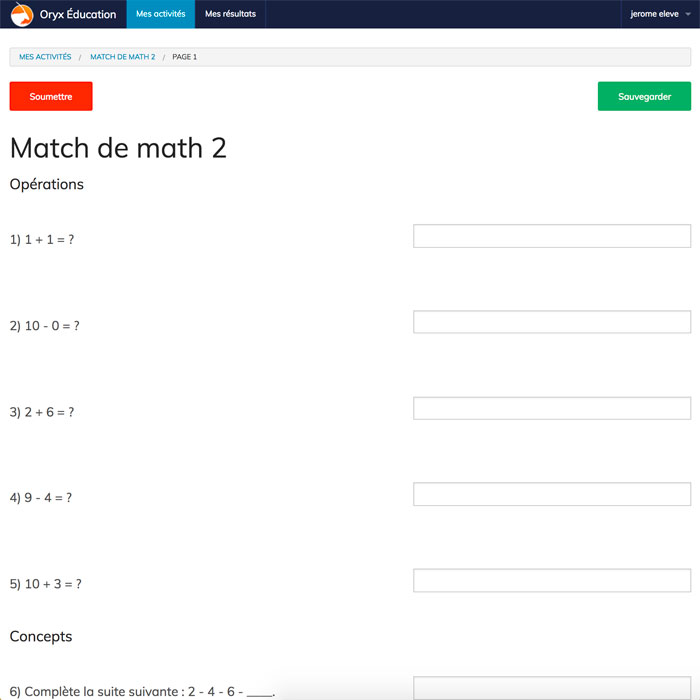 Specimens Match de math 2 - Web Application