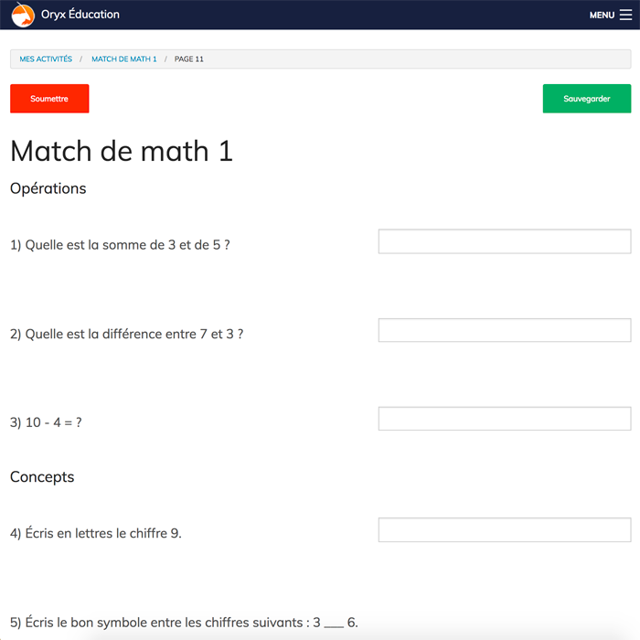 Specimens Match de math 1 - Web Application