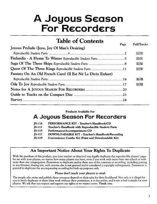 Specimens A Joyous Season for Recorders
