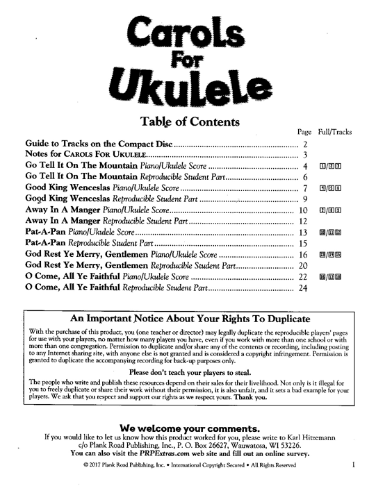 Spécimen de Carols for Ukulele