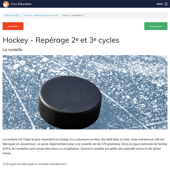 Specimens ORYX - Repérage: Hockey 2e et 3e cycles