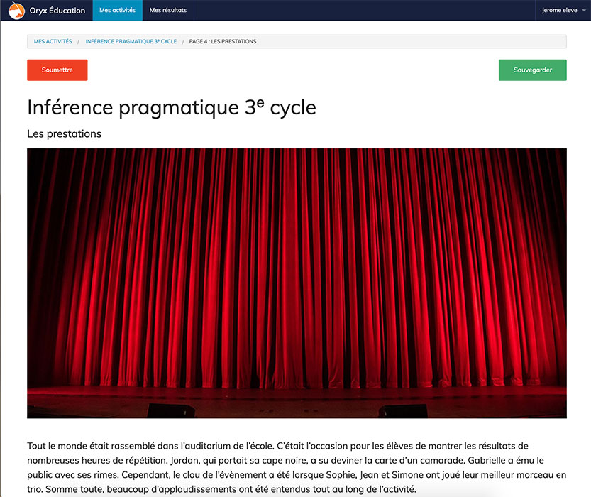 Specimens ORYX - Inférence pragmatique 3e cycle