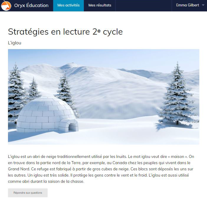 Specimens Stratégies en lecture 2e cycle - Web Application