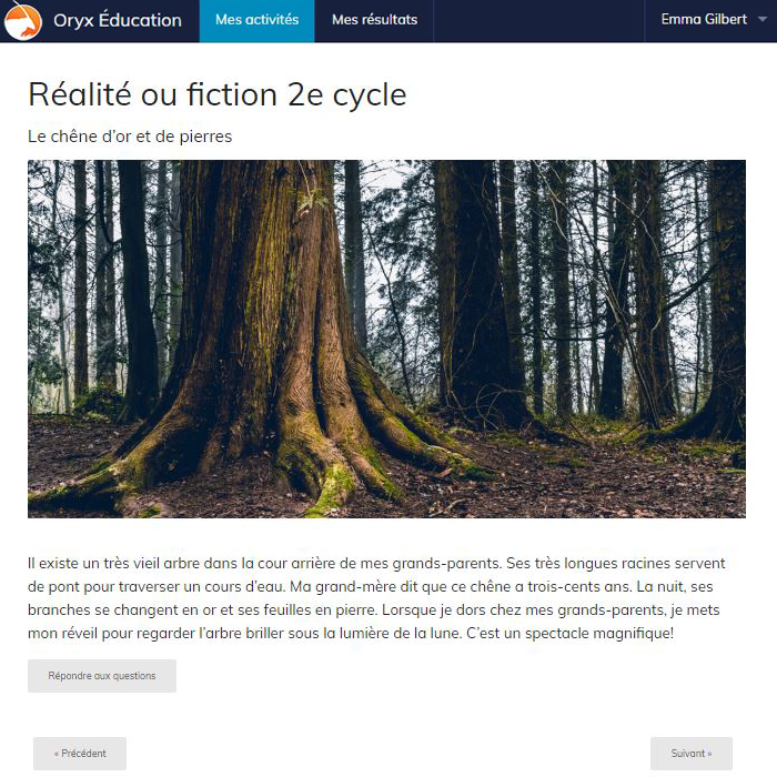 Specimens Réalité ou fiction 2e cycle - Web Application